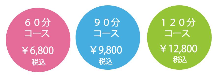 60分コース6800円 90分コース9800円 120分コース12800円